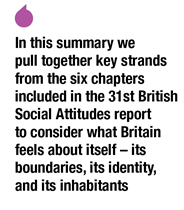 [In this summary we pull together key strands from the six chapters included in the 31st British Social Attitudes report to consider what Britain feels about itself - its boundaries, its identity, and its inhabitants]